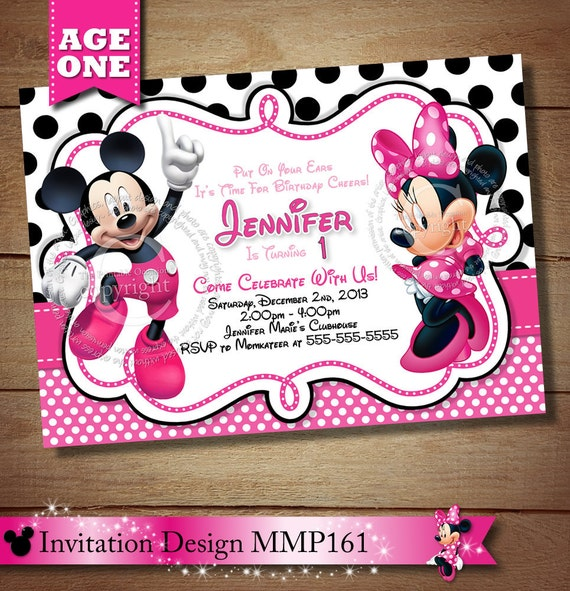 HUGE SELECTION Mickey Minnie Mouse First Birthday Invitation – Minnie and Mickey Birthday Invitations