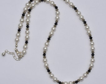 Swarovski Pearl and Bali Silver Necklace and Earring Set