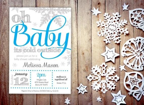baby boy shower invitation winter wonderland theme digital file