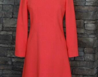 1960s Dress / Bright Coral Orange Long Sleeve Wool Shift Dress / Wayne Fuller