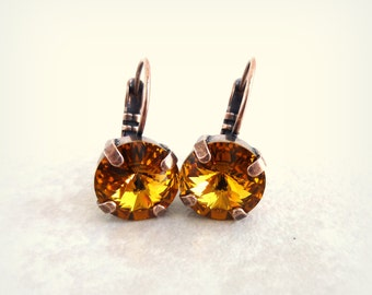 Swarovski Crystal Earrings, 10mm Topaz, Warm Toned Amber, Brown, Lever Back Drops, SELECT A FINISH, Gift For Her, Free Shipping