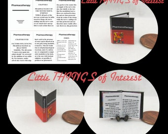 Miniature Book -- MEDICAL Textbook PHARMACOTHERAPY Readable Miniature Book Dollhouse 1:12 Scale Book