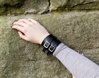 Vegan/vegetarian black leather buckle up strap wrist cuff