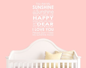 You Are My Sunshine Wall Decal - Nursery Decal Decor - Girls Room Decals - Wall Decals - Decals