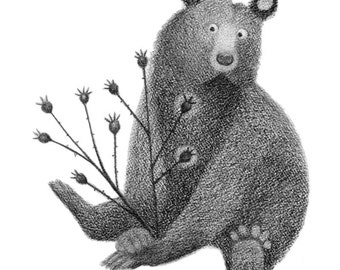 Bear with Rose Hips - 4x6 print