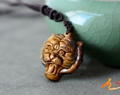 Auspicious Amulet Natural yellow Tiger eye stone carved tiger Head Amulet charm Pendant