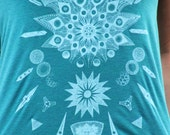 Crystal Diatom Mandala Tank - Ghost White on Tri Evergreen or 9 other available women's tank top colors. Innately Geometric Phytoplankton.