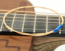 Recycled/Reused Guitar String Jewelry Simple Gold Bronze Bangle Stacking Bracelet with Blue Accent Wire