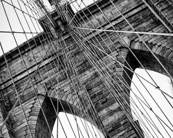 New York Photography - Brooklyn Bridge Black and White Photograph, Brooklyn, New York - 8x12 photo