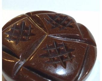 Bakelite Button, Vintage Chunky Brown Bakelite Coat Button, Bakelite Button 29