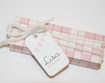 Custom baptism favor tags or baby shower tags, set of 35