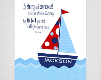 Sailboat PRINTABLE Wall Art personalized with child's name & Bible verse.  Digital File.  Baptism, Christening, Baby, First Communion Gift