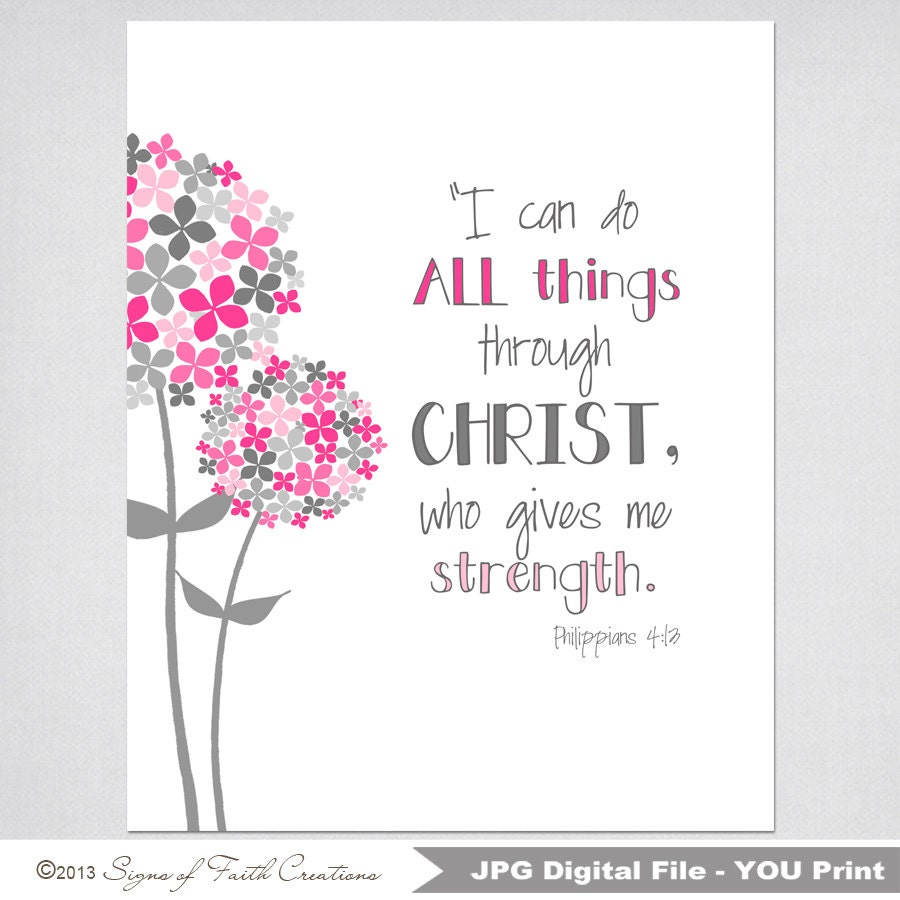 Inspirational Scripture Art with Philipians 4:13 Bible verse