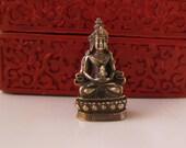 Brass BUDDHA STATUE, Tiny brass Buddhist Deity seated, portable altar, Female Buddha, Meditating Tara w lotus, Avalokitasvara Avalokiteśvara
