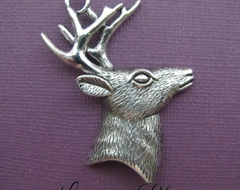 4 pieces Large Buck Deer Wtih Antlers Head Pendant Charms, Deer Head Charms, 53x41mm Antique Silver Finish Lead Free Pewter