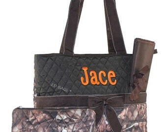Monogrammed Quilted 3 Piece Camo Woods Brown Trim Personalized Diaper Bags Dads | Infants | Baby | Babies | Childs | Boys | Girls Diaper Bag
