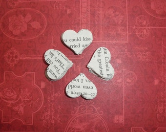 """Heart Punches, Wedding Table Scatter, 100 Small Heart Shaped Confetti Punches from the Vintage Book """"Love Story"""", Romantic"""