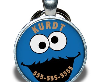 Pet ID Tag - Cookie Monster *Inspired* - Dog tag, Cat Tag, Pet Tag