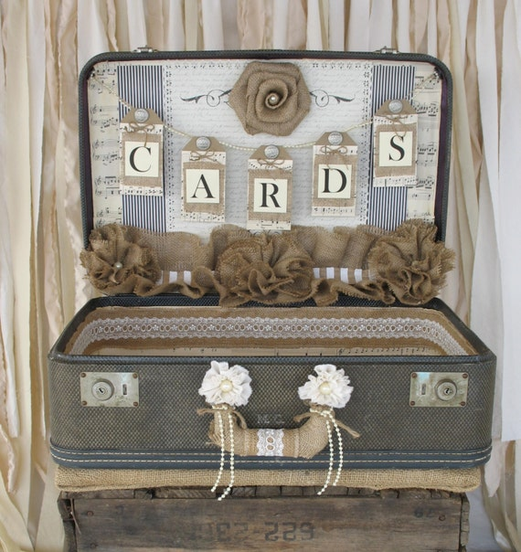 Card Holder Country Wedding Ideas: Vintage Suitcase Wedding Card Holder Shabby Chic Wedding