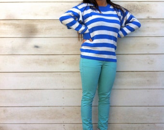 Vintage Blue and White Striped Sweater