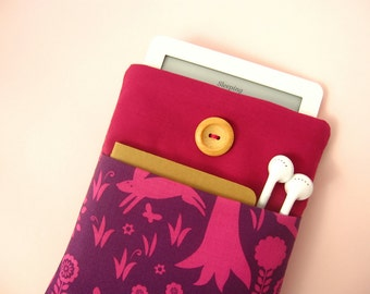 Pink Kindle Case, Handmade Cover for Kobo Glo, Kindle Paperwhite. Padded Sleeve in Pink and Purple Tree Fabric for Ereaders, Nook, Kobo Mini