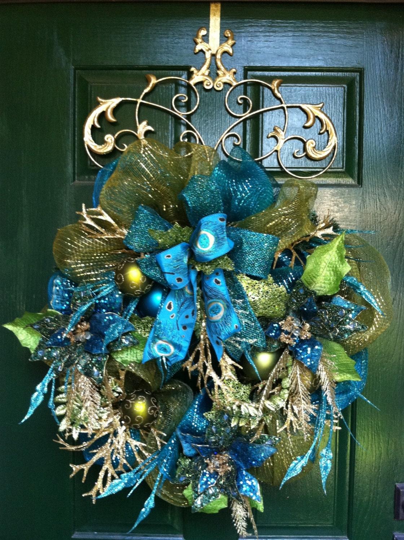 Jewel Turquoise Poinsettia Wreath Christmas Wreath Holiday