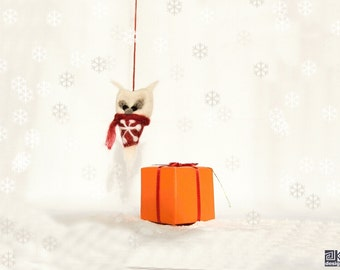 Rebecca - needle felted snow owl, white and red, christmas ornament, winter novelty, stocking stuffer, gift under 20