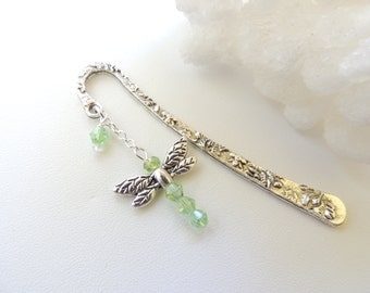 Dragonfly Bookmark, Metal Bookmark, Beaded Bookmark, Books and Zines, Dragonfly Charm Bookmark, Gift Idea, Stocking Stuffer. B183