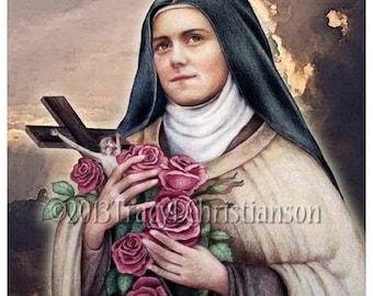 St.Therese of Lisieux, the Little Flower (C) Catholic Saint Art Print #4171