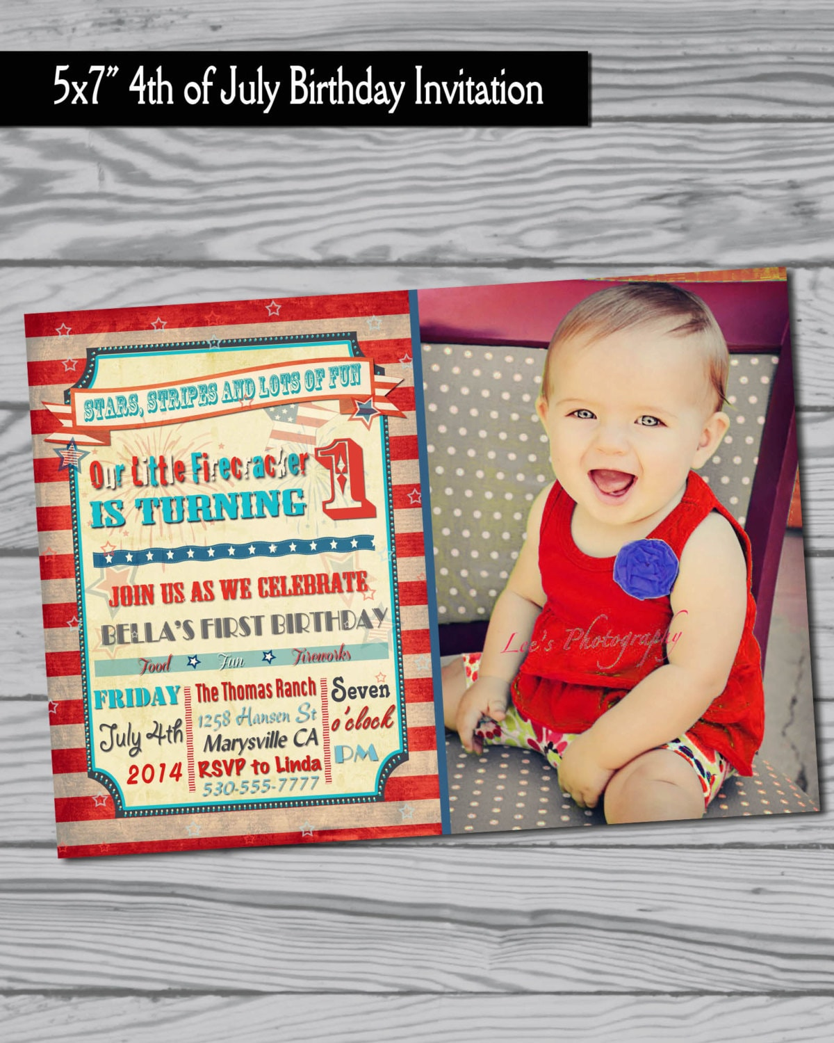 4th Of July Birthday Party Invitation / Fourth Of July / Party