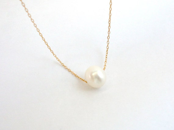 Single Freshwater Pearl Necklace Gold Filled Or Sterling