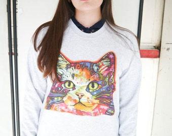Acid Cat Cat jumper, Cat sweatshirt, Cat Sweater, Kitten Sweater, Meow, Cute, Hello Kitty, Neon, Kittens, Cats, Pets, Animals, Wildlife, New