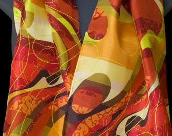 """Orange Magenta Green Women's Silk Scarf, 12"""" x 67"""", by Lorenz Hermsen."""