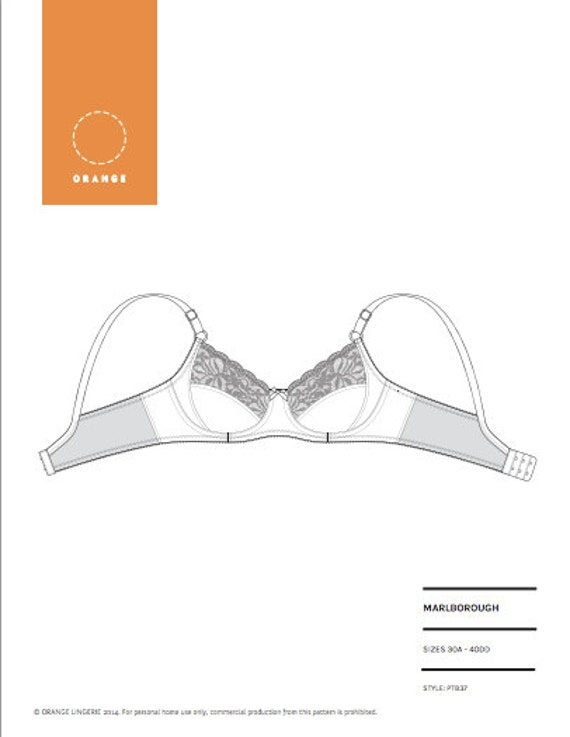 PDF sewing pattern for an underwire bra engineered for great shaping and support by Orange Lingerie - Marlborough Bra