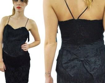 Vintage 80s Evening Cocktail Flapper-Style Lace Little Black Dress