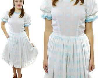 Vintage 60s Audrey Coleman Babydoll Prairie Full Skirt Dress