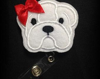 Bulldog Badge Reel- Badge Clip- ID Badge- ID Holder- Georgia Badge Holder