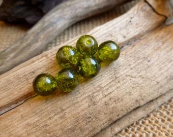 20x Green Glass Lampwork Bead For Jewelry Making, Box