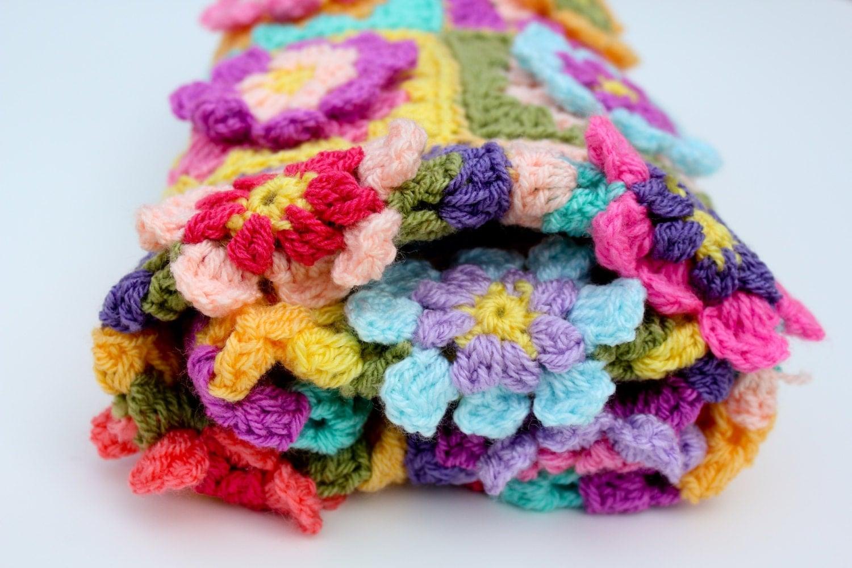 Crochet Flower Blanket : Crochet flower blanket baby girl blanket car seat by AnaisandAiyla