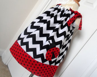 Sweet Ladybug Chevron & Polka Dot Pillowcase Dress