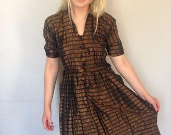 Gorgeous Early 1940s Sharkskin Dress