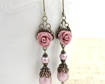 Dusty Pink Neo Victorian Earrings - Swarovski Pearl Resin Rose Earrings - Antique Style Brass Bronze Earrings Shabby Chic Victorian Jewelry