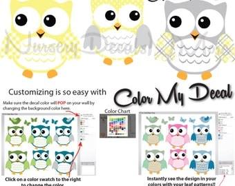 Yellow and Gray Owl Wall Stickers, Owl Stickers for Nursery, Yellow Nursery Decor (6 Fat Owl Yellow Gray) 6FOO