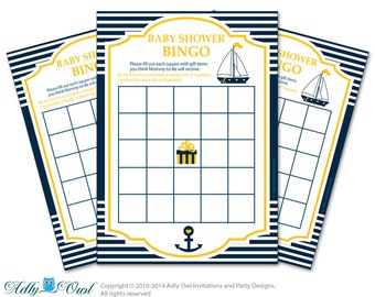 StripesNautical Bingo Game Printable Card for Baby Boy Shower DIY grey, StripesNavy Yellow - ONLY digital file - ao41bsy3