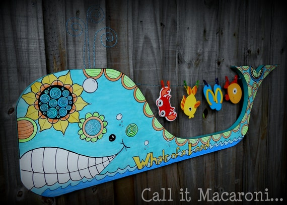 Whimsical Whale Whimsy Whale Doodle Whale Wooden By