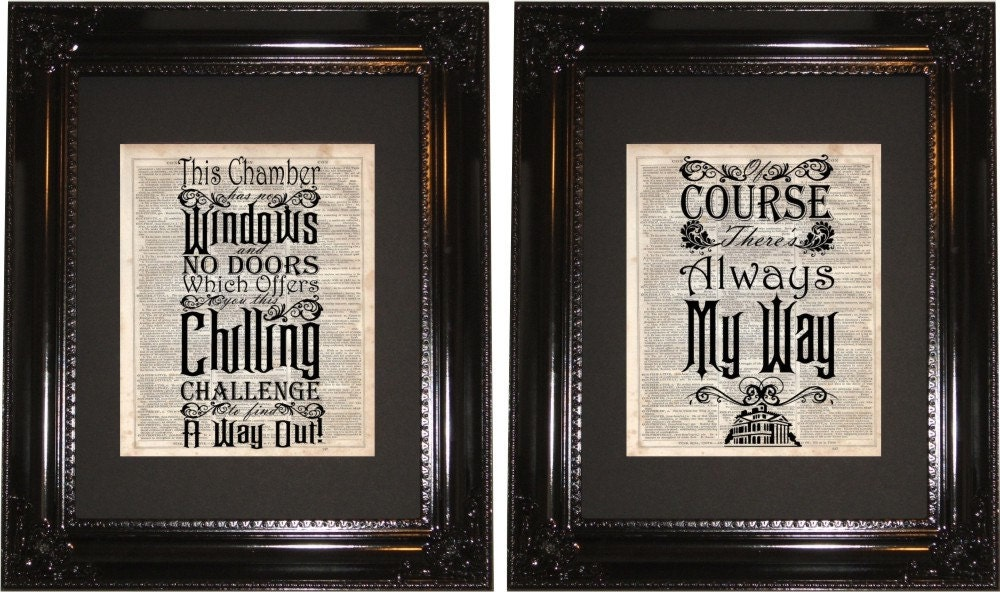 Haunted Mansion Quote Dictionary Art Print Vintage Dictionary Silhouette Disney Quotes