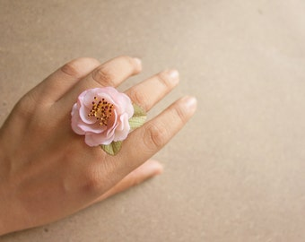 Cherry blossom ring, polymer clay handmade flower, sakura ring