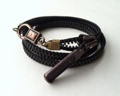 Steampunk Vintage Zipper Wrap Bracelet