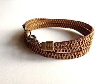 Delicate Brass and Chocolate Zipper Wrap Bracelet