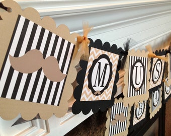 Mustache Bash Happy Birthday Banner - Black Stripes Tan Chevron with Mustaches - Party Pack Specials Available